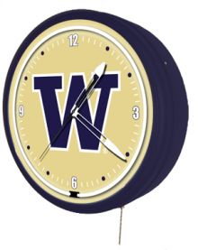 "Washington Huskies 20"" Metal Neon Clock"